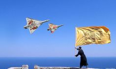 March Greece Independence Day, an Orthodox monk on Mount Athos waving the Byzantine flag at the Greek army fighter jets. One plane has a drawing of St. George, and the other other plane has a drawing of Archangel Michael. Byzantine Army, Byzantine Icons, Fighter Aircraft, Fighter Jets, Hellenic Air Force, Dassault Aviation, First Plane, Greek Beauty, Fight The Good Fight