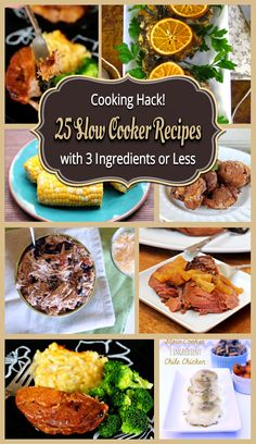 Amazing resource: 25 Slow Cooker Recipes with 3 Ingredients or Less #slowcooker