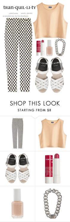 """""""nudes basics"""" by dynh ❤ liked on Polyvore featuring J.Crew, MTWTFSS Weekday, Korres, Essie and NLY Trend"""