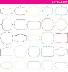 Colorful Digital Frames, Classic Frames, Digital Clipart, Digital Download, Clipart Frame, Frames Clipart, Digital Labels, Basic Frames  - 1 Zip