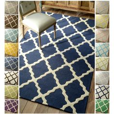 Possible for baby room: just get the white and grey one. nuLOOM Hand-hooked Alexa Moroccan Trellis Wool Rug x - Overstock™ Shopping - Great Deals on Nuloom - Rugs Home Living, My Living Room, Living Room Decor, Dining Room, Trellis Rug, Trellis Design, Trellis Pattern, Up House, Contemporary Area Rugs