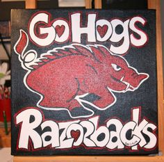 Go Hogs Razorback Acrylic Painting on Canvas by HeartHomes on Etsy