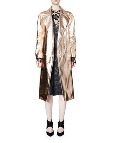 Belted+Metallic+Trenchcoat+&+Metallic+Lace-Overlay+Column+Dress+by+Lanvin+at+Neiman+Marcus.