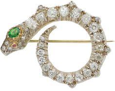 Antique Diamond, Demantoid Garnet, Ruby, Silver-Topped Gold Brooch.
