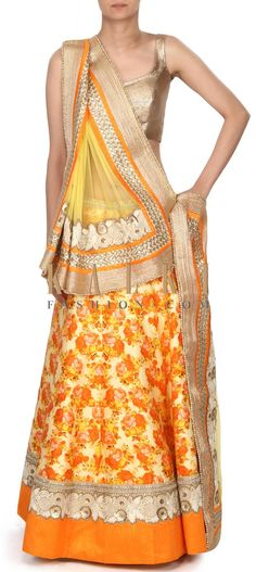 Buy this Lime yellow lehenga adorn in floral print only on Kalki