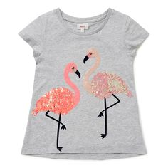 100% Cotton. Short sleeve t-shirt features front placement sequin flamingo motif. Regular fitting silhouette. Available in Cloud.