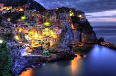 《Cinque Terre》- I have discovered this to be the town of Manarola in the coast of Cinque Terre on the Italian Riviera. So happy to finally know the name of this beautiful destination! Living In Europe, Cinque Terre, Beautiful Lights, To Go, Blog, Italy, Photo And Video, Adventure, World