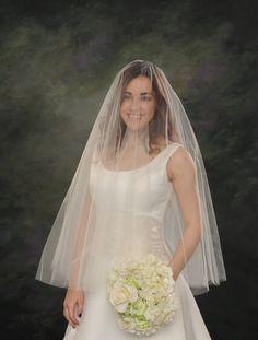 Circular Bridal Veil Drop Fingertip Veil Double Layer Wedding Veil 32 front 36 back White Illusion Tulle Ivory Drape Veil