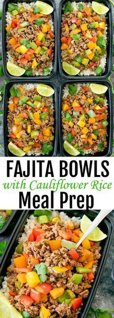 Beef Fajita Bowls with Cauliflower Rice Meal Prep. Low carb, healthier and easier version of fajita bowls.