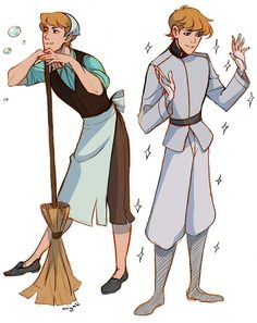 Genderbent Disney characters by miyuli.tumblr.com - For those of you who don't know, genderbending is when a character that was originally male/female is given a hypothetical redesign with the opposite gender (usually by fans, but sometimes officially as well). So here, for instance, we have a male version of Cinderella...and he's cross-dressing as well. I don't think I've ever seen that with a genderbend before....