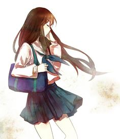 Another cute anime/manga schoolgirl, this time with a coordinated blue and white outfit. What I want to know is... how do these girl characters always keep their hair looking perfect, even when being blown by the wind - as in this picture?!