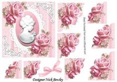 Pretty pink roses with cameo on lace corner stackers on Craftsuprint - Add To Basket!