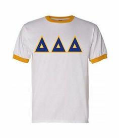 Delta Delta Delta Lettered Ringer Shirt SALE $20.00. - Greek Clothing and Merchandise - Greek Gear®