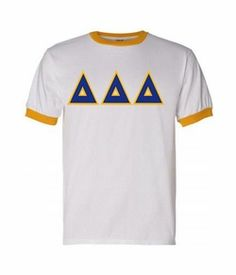 Delta Delta Delta Lettered Ringer Shirt SALE $20.00. - Greek Clothing and Merchandise - Greek Gear®