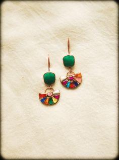 Mosaic Copper Earrings Mexico.