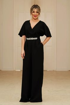 StarShinerS black occasional long jumpsuit short sleeve with v-neckline flaring cut with embellished accessories Long Jumpsuits, Short Jumpsuit, Flare Pants, Suits You, Size Clothing, Curvy, June, Short Sleeves, Neckline