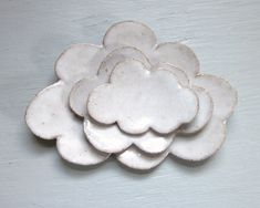 made to order  nesting cloud plates white by JDWolfePottery, $28.00
