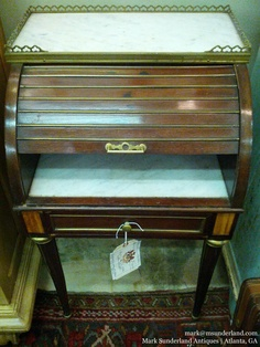 """Tambour roll top side tables (I have 2 that are """"almost"""" an exact pair). French. Were: $1500. each. NOW: $700.00 (each)"""