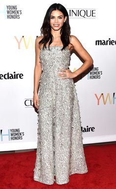 JENNA DEWAN TATUM   wears a strapless silver embellished Jenny Packham gown at the Young Women's Honors in Marina del Rey, California.