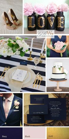 Midnight blue, blush and gold wedding mood board