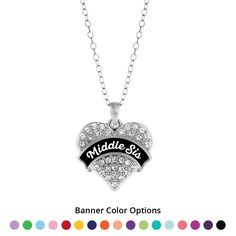 Middle Sis Pave Heart Charm Necklace- Select Your Color!