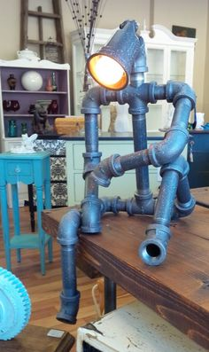 Man pipe lamp by DeepSouthCreations1 on Etsy