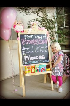 1st day of preschool.... And then you could do one for every first day of school writing what they want to be :) aw