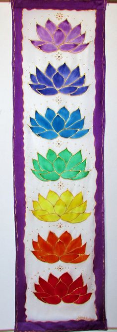 "Chakra wall hanging with lotuses and Swarovski crystals,""Crystal Lotus"",chakra art, metaphysical art, yoga art, reiki art. healing art,"