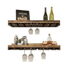 Trent Austin Design® Bernardo Solid Wood Wall Mounted Wine Glass Rack & Reviews | Wayfair Wine Glass Shelf, Wine Glass Rack, Glass Shelves, Wine Rack, Floating Shelves, Tabletop, Rustic Luxe, Rustic Style, Compact Kitchen