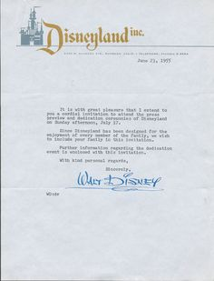 """yourland: """"""""Walt Disney Invites You to the Opening of Disneyland, 1955 """" """""""