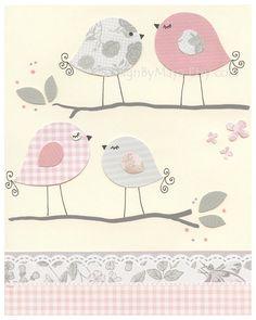 Love Birds For Nursery Room, Nursery Love Birds Decor, Love Birds Wall Art, Baby Girl Nursery Birds, Baby Girls Room Birds // Pink Gray Art. $17.00, via Etsy.