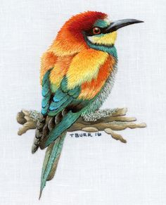 EUROPEAN BEE EATER digital pattern by TRISHBURREMBROIDERY on Etsy