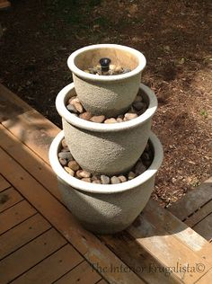 1 Two Tiered Flower Pot Two Tiered Flower Pot Fountain (via The Happy Two Tiered Water Two Tiered Water Garden (via Ups A Unique Water Unique Water Feature: Try your hand at creating. Diy Fountain, Garden Fountains, Water Fountains, Water Fountain Design, Outdoor Fountains, Garden Ponds, Koi Ponds, Small Water Features, Water Features In The Garden