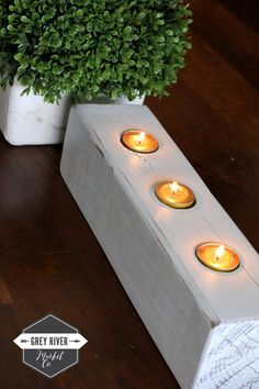 Wooden Candle Holder / Reclaimed Wood Candle Holder for Three