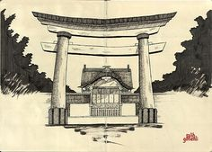 japanese architecture sketch