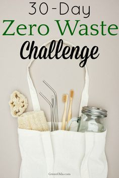 Reduce your waste and carbon footprint with a zero waste challenge. It's a simple way to start living a more waste-free and eco-friendly life. Zero Waste, Reduce Waste, Waste Container, Green Living Tips, Eco Friendly House, Sustainable Living, 30 Day, Free Printable, Living Quotes