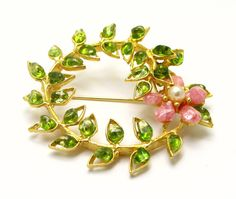 Swoboda Flower Pin Brooch Genuine Gems Peridot, Pearl and Rhodochrosite Vintage Collection Flower Brooch, Brooch Pin, Antique Jewelry, Vintage Jewelry, Peridot Jewelry, Costume Jewelry, Jewelry Design, Corsages, Gemstones
