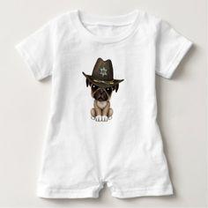 #cute #baby #bodysuits - #Cute Pug Puppy Dog Sheriff Baby Romper