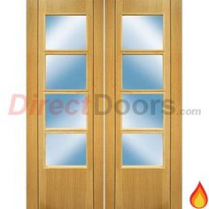 Vision Oak 4 Light Veneer Door Pair with Clear Glass, Pre-Finished, 30 Minute Fire Rated.  #doublefiredoors