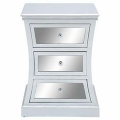 The shapely DecMode Hourglass 3 Drawer Side Cabinet gets its glam appeal from a shimmering pewter finish and mirrored drawer fronts. This side cabinet includes three mirrors with silver-finished knob pulls. Mirror Cabinets, Wooden Cabinets, Accent Furniture, Bedroom Furniture, Paint Furniture, Furniture Decor, Mirrored Nightstand, Nightstands, Curved Wood
