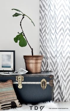 DIY Easy Sew Curtains For The Family Room using Premier Prints fabric  from OnlineFabricStore.net @Rayan Turner / The Design Confidential