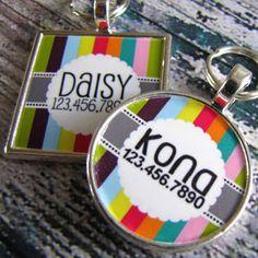 4f3d183eb024 Retro Carnival Stripes Silver Custom Pet ID Tag Dog Id Tags, Pet Tags, Pet