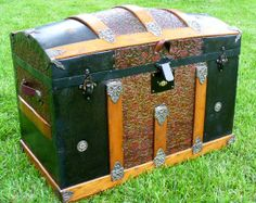 old victorian trunk-a great idea to fix up the old trunk... This looks like Grandpa's mom!