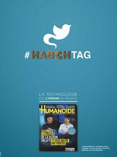 Glory détourne avec cynisme les  logos des chantres de l'ère digitale pour le magazine Humanoïde pour souligner combien le monde des technologies ouvre le champ à de passionnantes enquêtes. Le ton est donné. ( reste Samsung grand absent, qui nous proposera peut-être sa version...) #publicité #media #social