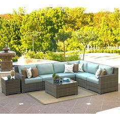 """The Malibu 8pc. sectional set at Skylar's Home & Patio is the latest style is outdoor resin wicker. The Malibu is a clean transitional design that can flow with any backyard oasis. Make Skylar's your San Diego Furniture Store.Listing Includes:(1) 6pc. Sectional (1-LAF Chair / 3-Armless Middles / 1-Corner Sect.) 123"""" x 96""""(1) Square Coffee Table w/ Tempered Glass - 36"""" x 36"""" x 19""""h(1) Sqaure End Table w/ Tempered Glass(accent pillows not included)Shown in Sunbrella Fabric: Canvas Spa"""