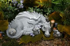 Mother Dragon Sculpture - And THREE Baby Dragon Hatchlings - Garden Concrete Art