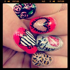 My nails this week. Inspired by @Betsey Johnson.