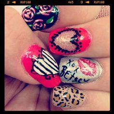 My nails this week. Inspired by @Betsey Johnson ! #neon #nails #nailart #nailgasm #nailswag #nailsdid #nailgoodness #nailgirls #idonails #ilovenails #nailartswag #nailartoohlala #betseyjohnson #xoxbetsey #hearts #leopard #roses #naillove