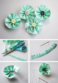 Fabric flower tutorial, using ribbon, by Anski Fabric Flower Tutorial, Fabric Flowers, Quick Crafts, Diy Crafts, Ribbon Art, Ribbon Flower, Silk Ribbon Embroidery, Headbands, Projects To Try