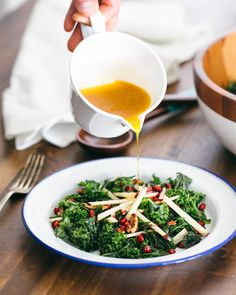 Massaged Kale Salad with Apple and Pomegranate by acouplecooks #Salad #Kale #Apple #Pomegranate